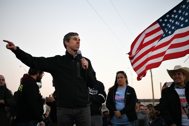 O'Rourke, the Democratic former Texas congressman, addresses supporters before a march in El Paso