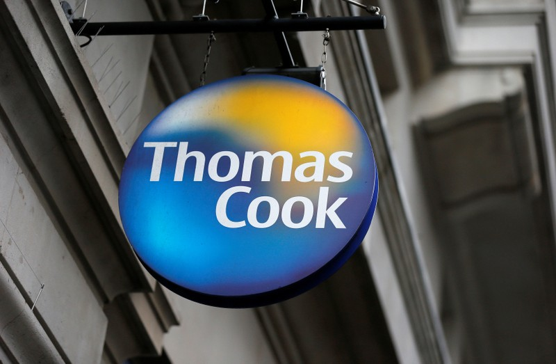 FILE PHOTO: A Thomas Cook sign outside one of its London stores
