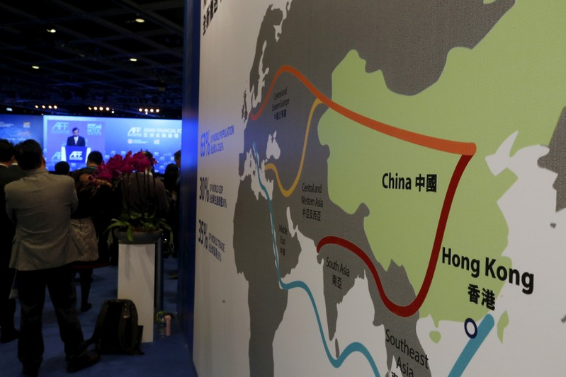 FILE PHOTO: A map illustrating China's silk road economic belt and the 21st century maritime silk road, or the so-called