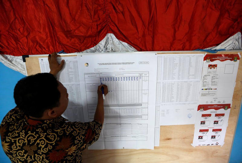 An election official records votes in Tangerang, west of Jakarta