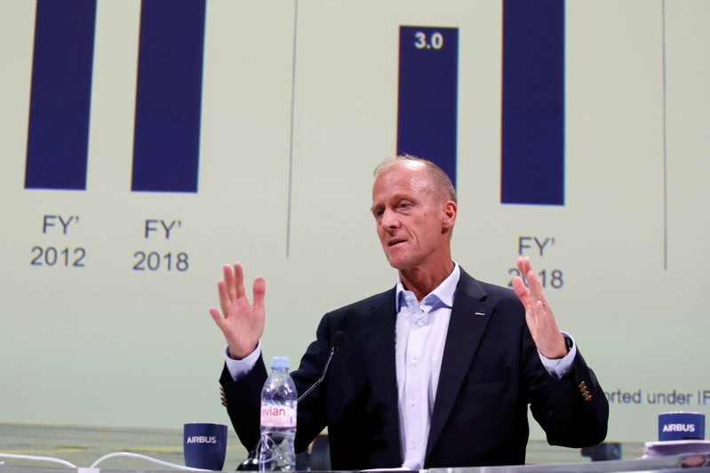 FILE PHOTO: Airbus CEO Tom Enders attends Airbus's annual press conference on Full-Year 2018 results in Blagnac