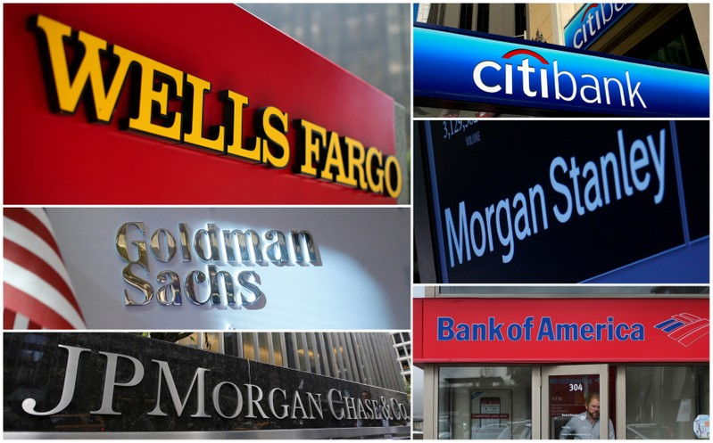 A combination file photo shows Wells Fargo, Citigbank, Morgan Stanley, JPMorgan Chase, Bank of America, JPMorgan, and Goldman Sachs from Reuters archive