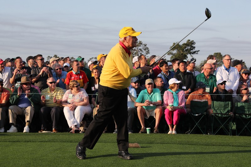 Nicklaus tees off during the ceremonial start on the first day of play at the 2019 Master golf tournament at the Augusta National Golf Club in Augusta, Georgia, U.S.