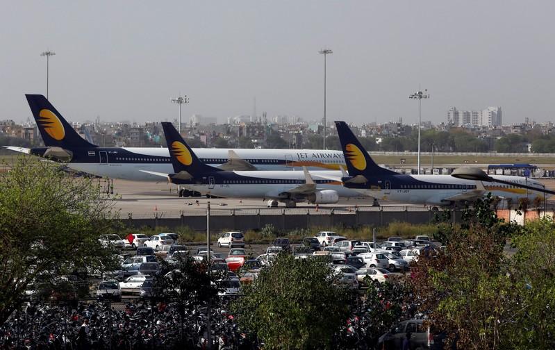 Jet Airways aircrafts are seen parked at the Indira Gandhi International Airport in New Delhi