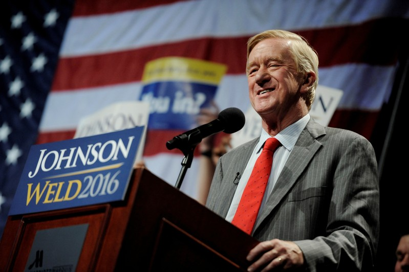 FILE PHOTO: Libertarian vice presidential candidate Bill Weld speaks at a rally in New York