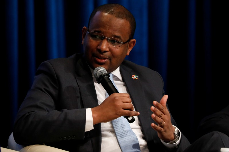 Malian Minister of Economy and Finance Boubou Cisse speaks at panel on the security-development nexus during IMF spring meetings in Washington