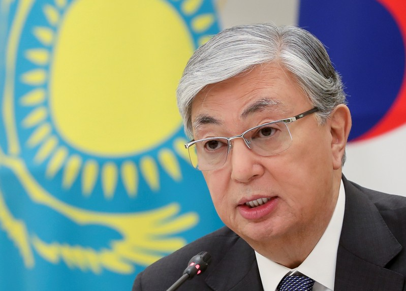 FILE PHOTO: Kazakhstan's President Kassym-Jomart Tokayev speaks during his meeting with South Korea's counterpart Moon Jae-in in Nur-Sultan