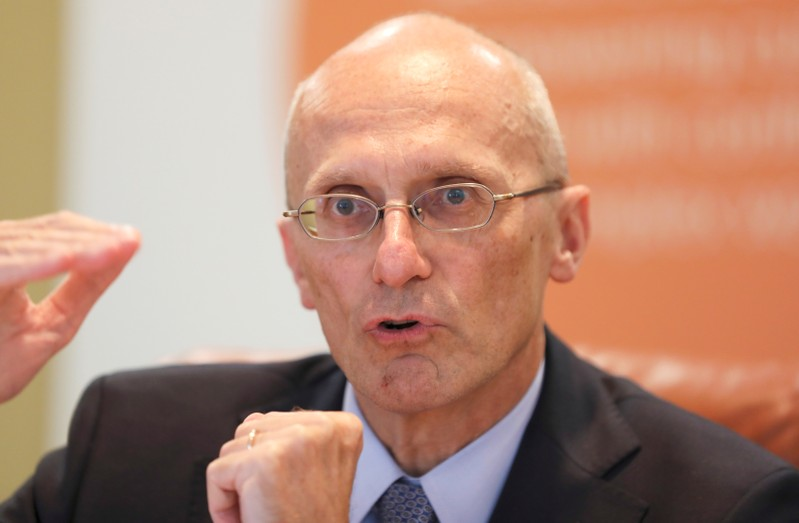 Andrea Enria, chairperson of the European Banking Authority, speaks at Reuters Summit interview in London