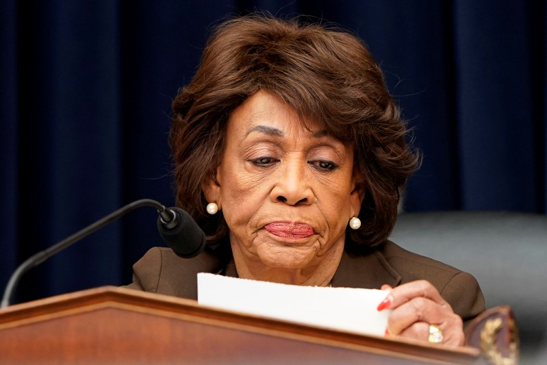 Chairman of the House Financial Services Committee Maxine Waters (D-CA) questions Federal Reserve Board Chairman Jerome Powell as he delivers the Federal Reserve's Semiannual Monetary Policy Report on Capitol Hill in Washington