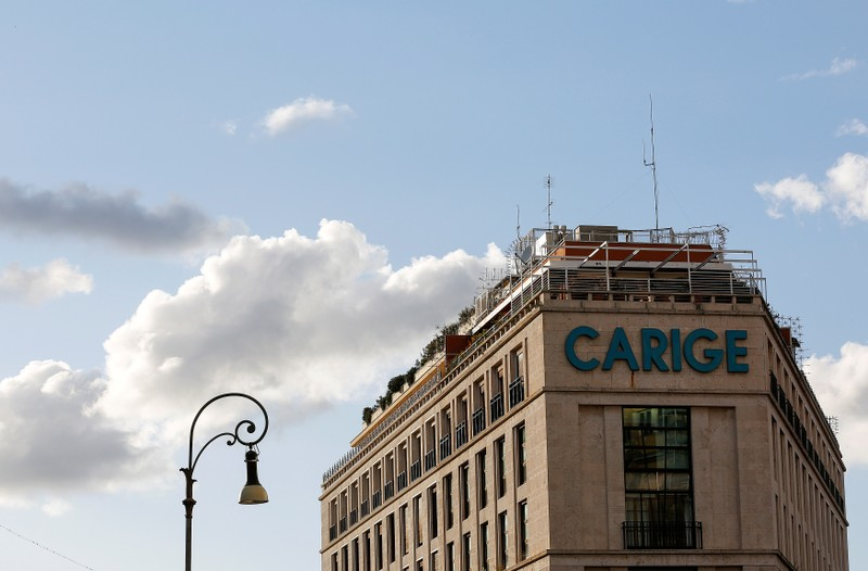 FILE PHOTO: The logo of Carige bank is seen in Rome