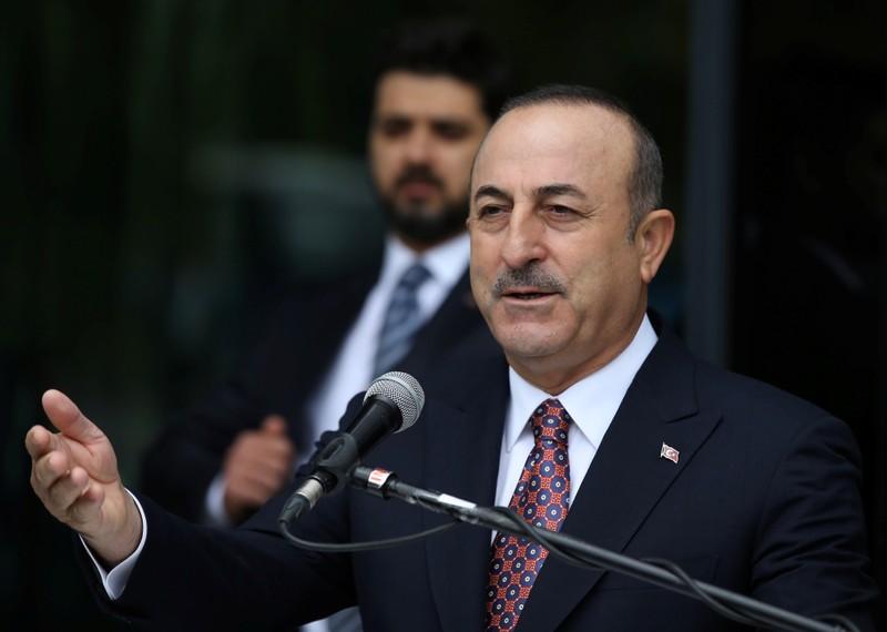 Turkish Foreign Minister Cavusoglu speaks during a ceremony in Ankara