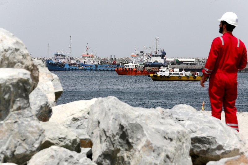 FILE PHOTO: A technical staff is seen at the Port of Fujairah