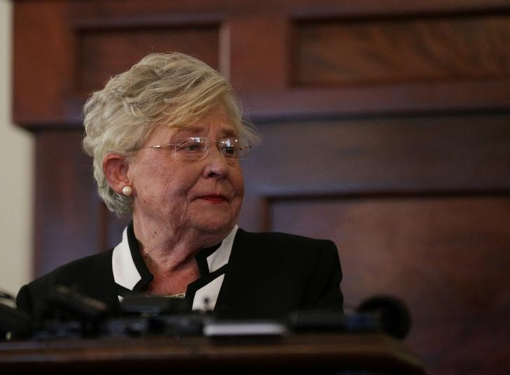 FILE PHOTO: Alabama Lt Governor Kay Ivey speaks to the media after being sworn in as Alabama's new governor