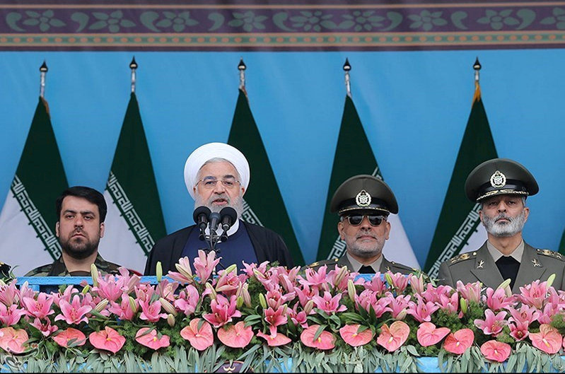 FILE PHOTO: Iranian President Hassan Rouhani delivers a speech during the ceremony of the National Army Day parade in Tehran