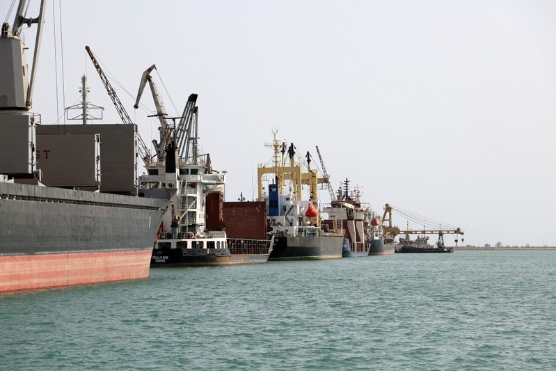 Ships are seen at the Hodeida port