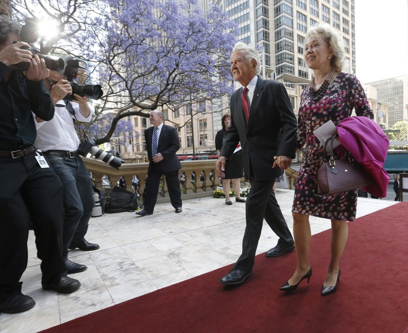 Former Australian Prime Minister Bob Hawke and his wife Blanche d'Alpuget arrive at a memorial service in honour of former Australian Prime Minister Gough Whitlam at Sydney's Town Hall
