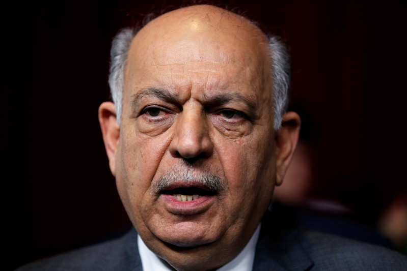 Iraqi oil minister Thamer Ghadhban speaks to the media during a handover ceremony at the ministry's headquarters in Baghdad