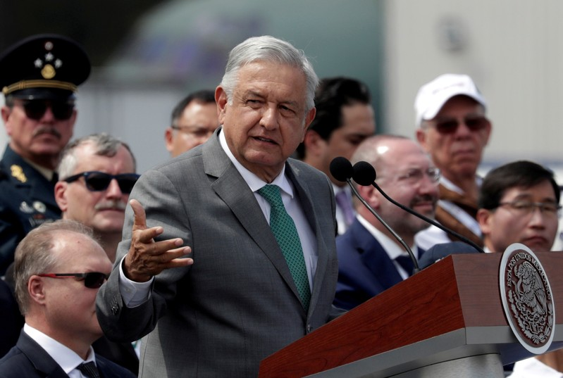 FILE PHOTO: Mexico's President Andres Manuel Lopez Obrador gives a speech during the inauguration of the Aerospace Fair 2019 at the Santa Lucia military airbase in Tecamac
