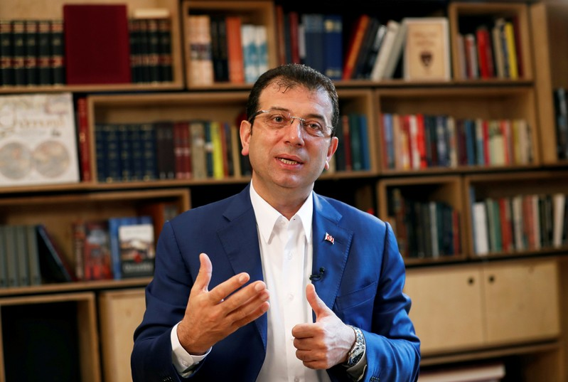 FILE PHOTO: Ousted Istanbul Mayor Imamoglu speaks during an interview with Reuters in Istanbul