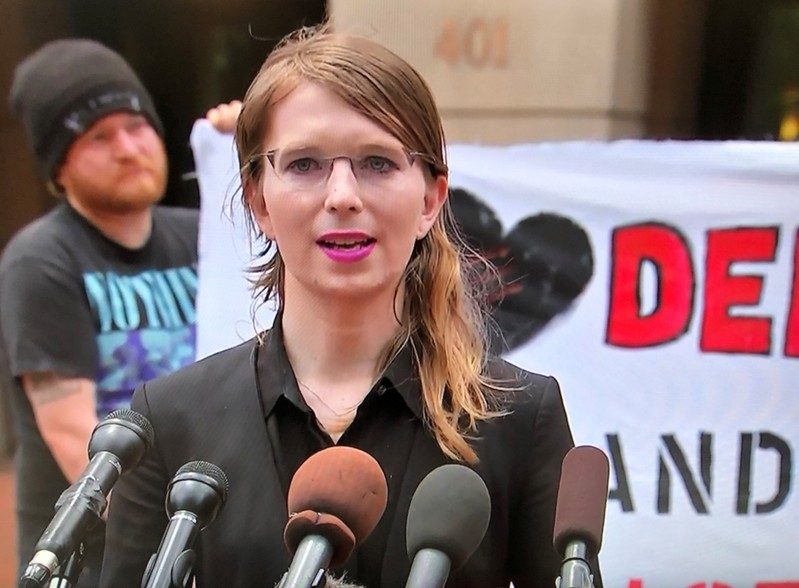 Chelsea Manning speaks to reporters outside the U.S. federal courthouse before appearing before a federal judge regarding a federal grand jury investigation of WikiLeaks in Alexandria