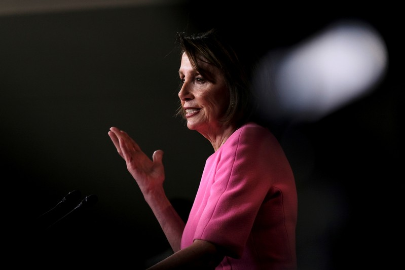 U.S. House Speaker Nancy Pelosi (D-CA) holds her weekly news conference with Capitol Hill reporters in Washington