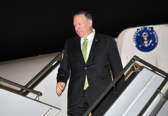 U.S. Secretary of State Mike Pompeo steps off his plane upon arrival at King Abdulaziz International Airport in Jeddah