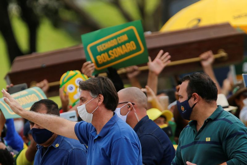 Protest against the President of the Chamber of Deputies Rodrigo Maia,  Brazilian Supreme Court, quarantine and social distancing measures in Brasilia