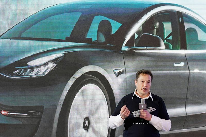 Tesla Inc CEO Elon Musk speaks onstage during a delivery event for Tesla China-made Model 3 cars at its factory in Shanghai