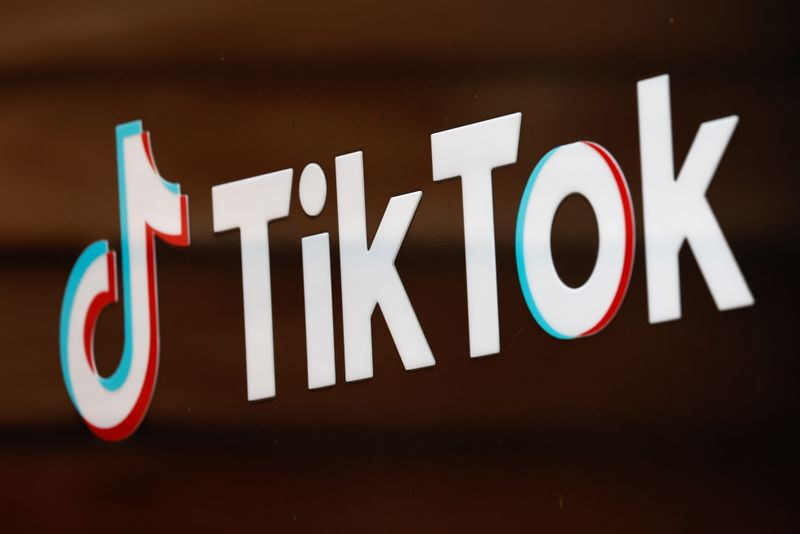 FILE PHOTO: The TikTok logo is pictured outside the company's U.S. head office in Culver City, California