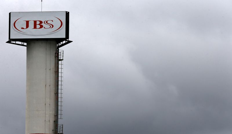 The logo of Brazilian meatpacker JBS SA is seen in the unit   in the city of Jundiai