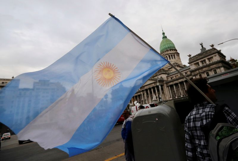 FILE PHOTO: A man waves an Argentine national flag during a protest against a cost increase in public and utility services in Buenos Aires