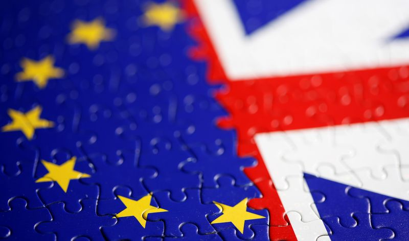 FILE PHOTO: Puzzle with printed EU and UK flags