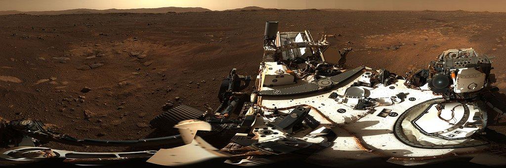 Mastcam-Z Panoramablick auf den Mars vom Perseverance Rover