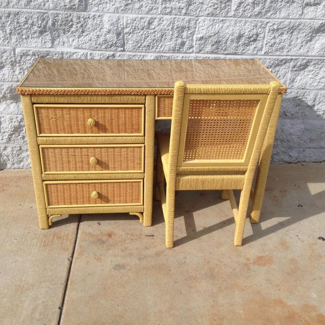 Henry Link Designer Wicker Desk Set Loveseat Vintage Furniture San Diego