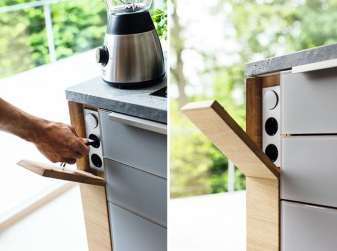 Kitchen design idea for hide your electrical outlets