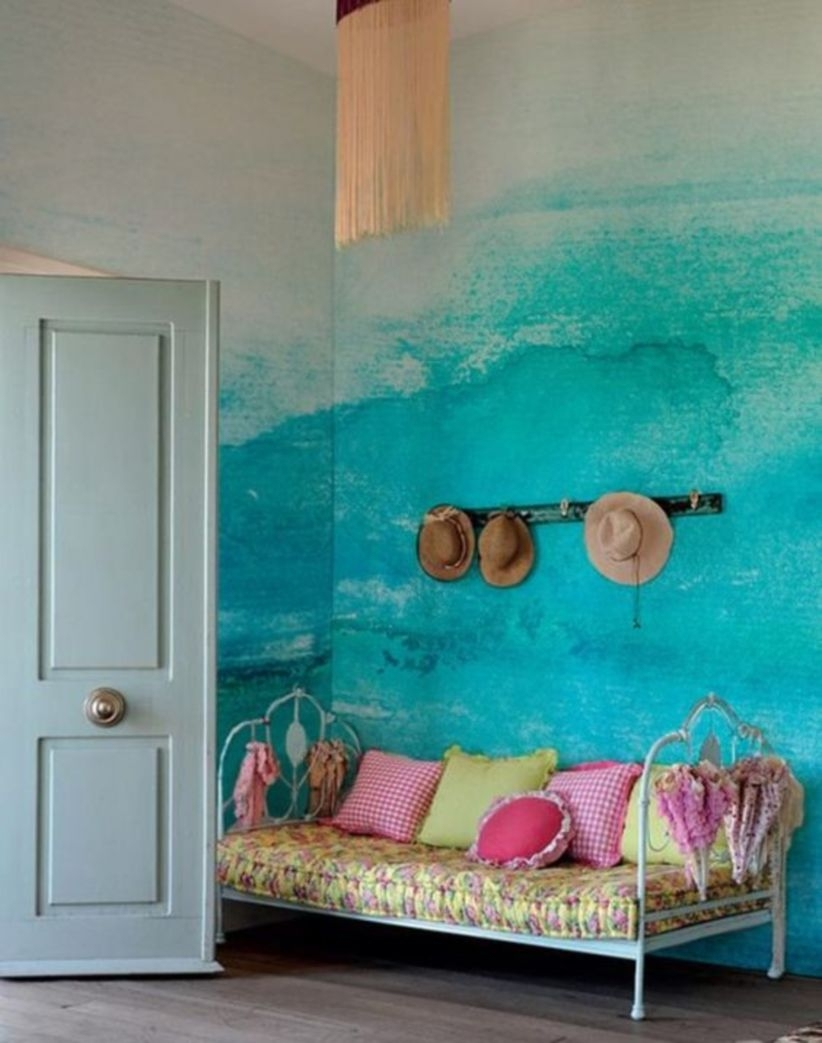 Modern wall painting ideas, watercolor and ombre painting effects