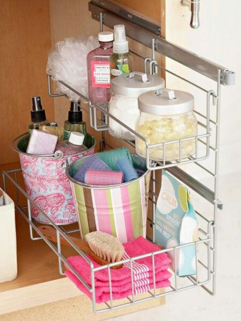 Organizing under the bathroom sink for storage