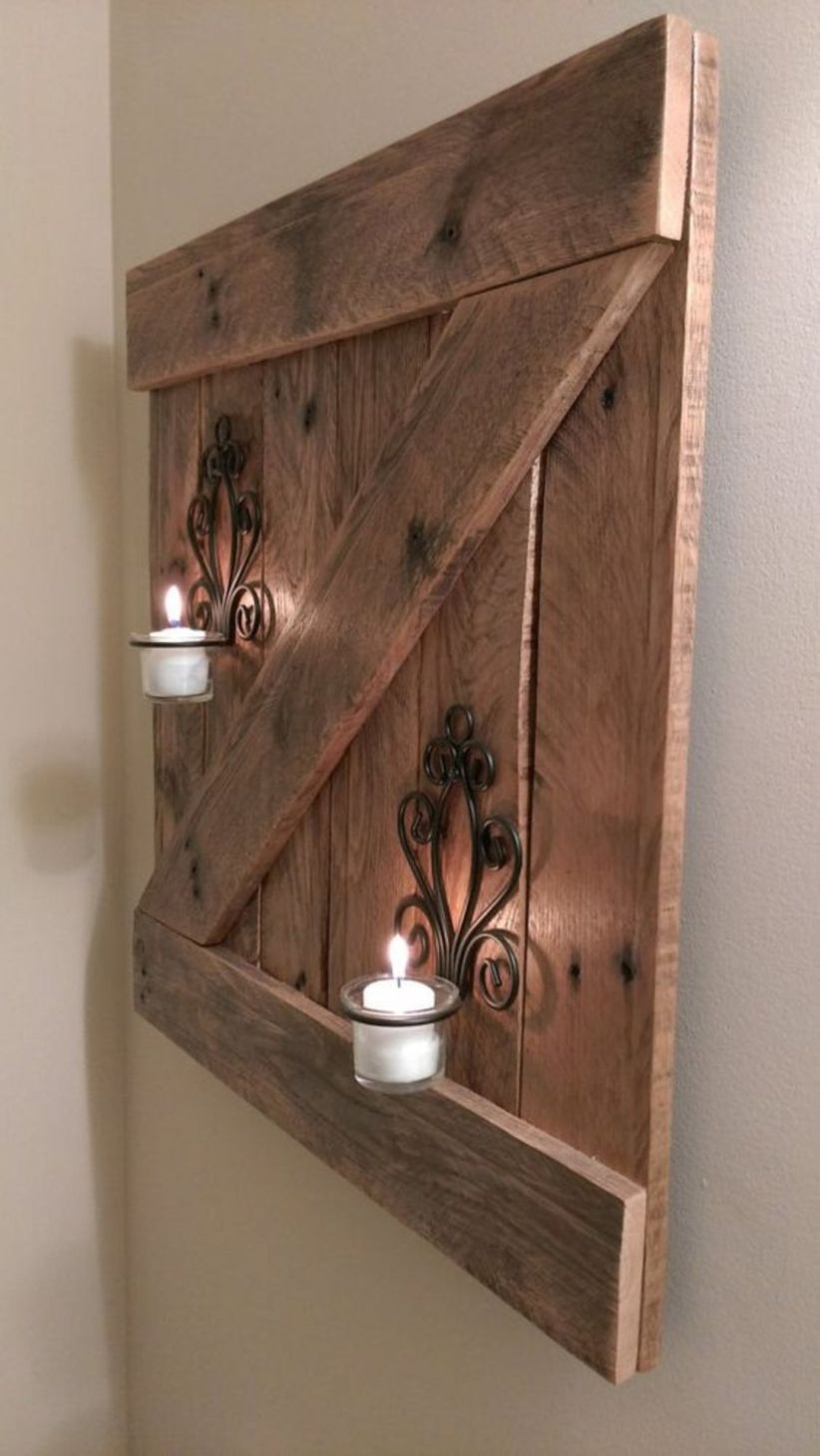 Rustic reclaimed wood barn door wall hanging