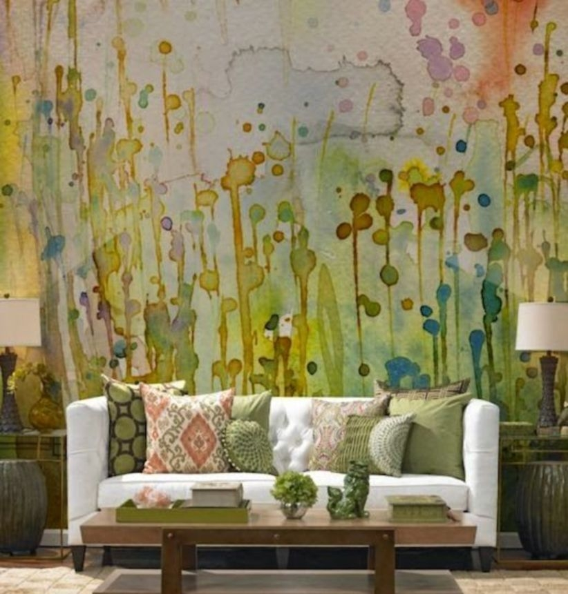 Watercolor wall for living room bohemian