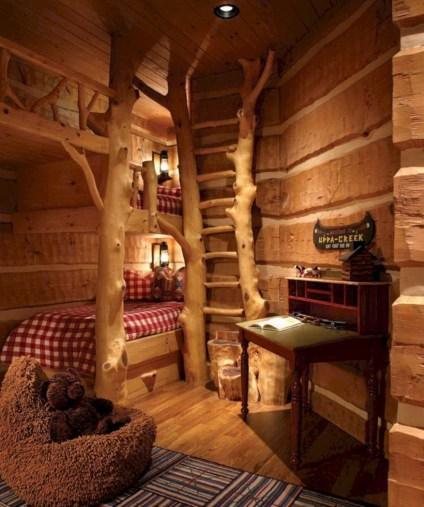 Creative log cabin themed bedroom for kids 05