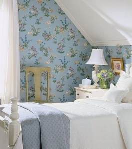 Vintage attic bedroom with wall of skylights59