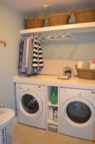 Beautiful and functional small laundry room design ideas 46