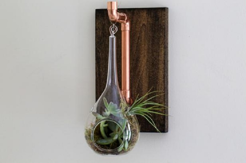 Diy cool hanging mod planter from copper plumbing supplies 4