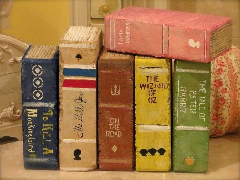 Books from painted bricks