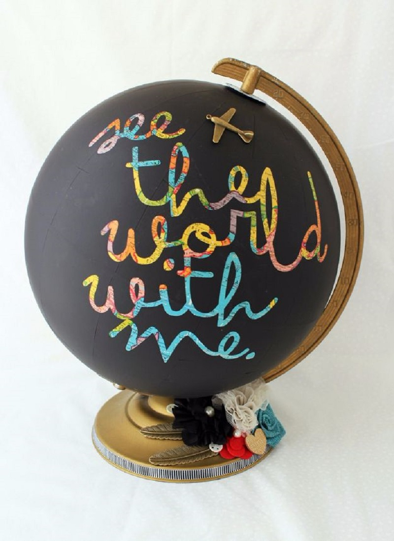 Chalkboard globe DIY Room Decoration Ideas Where Teens Can Do It In A Short Time