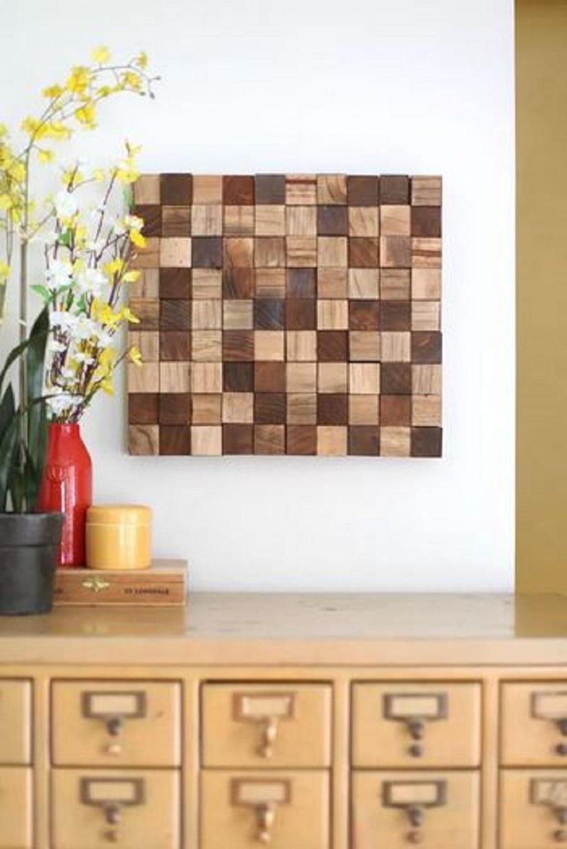 Mosaic art from wooden block