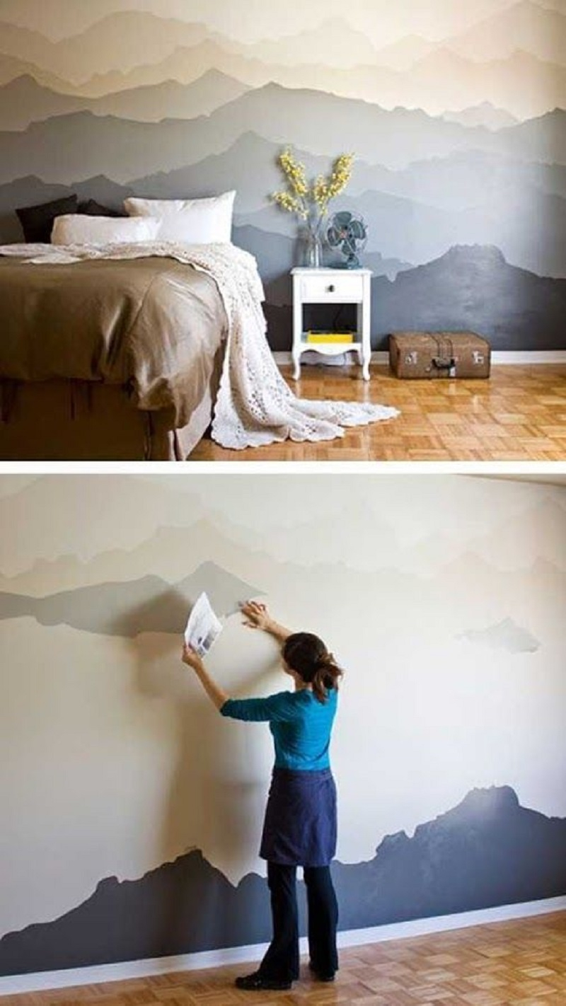 Mountain mural bedroom makeover Appealing DIY Ideas To Paint On Blank Wall Where Teenage Can Do
