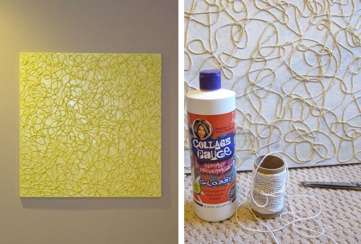 Yarn art Trouble-Free DIY Canvas Wall Art Ideas To Decorate Your Home