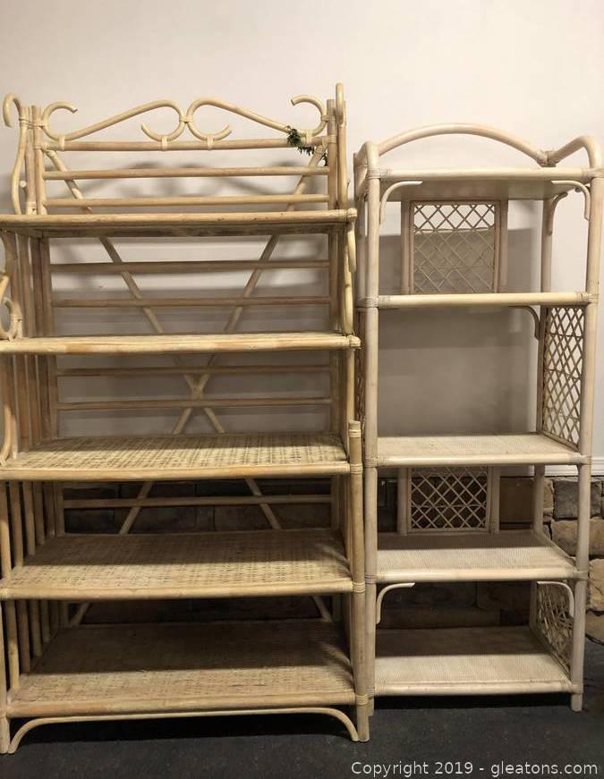 rattan bakers rack tan with shelving