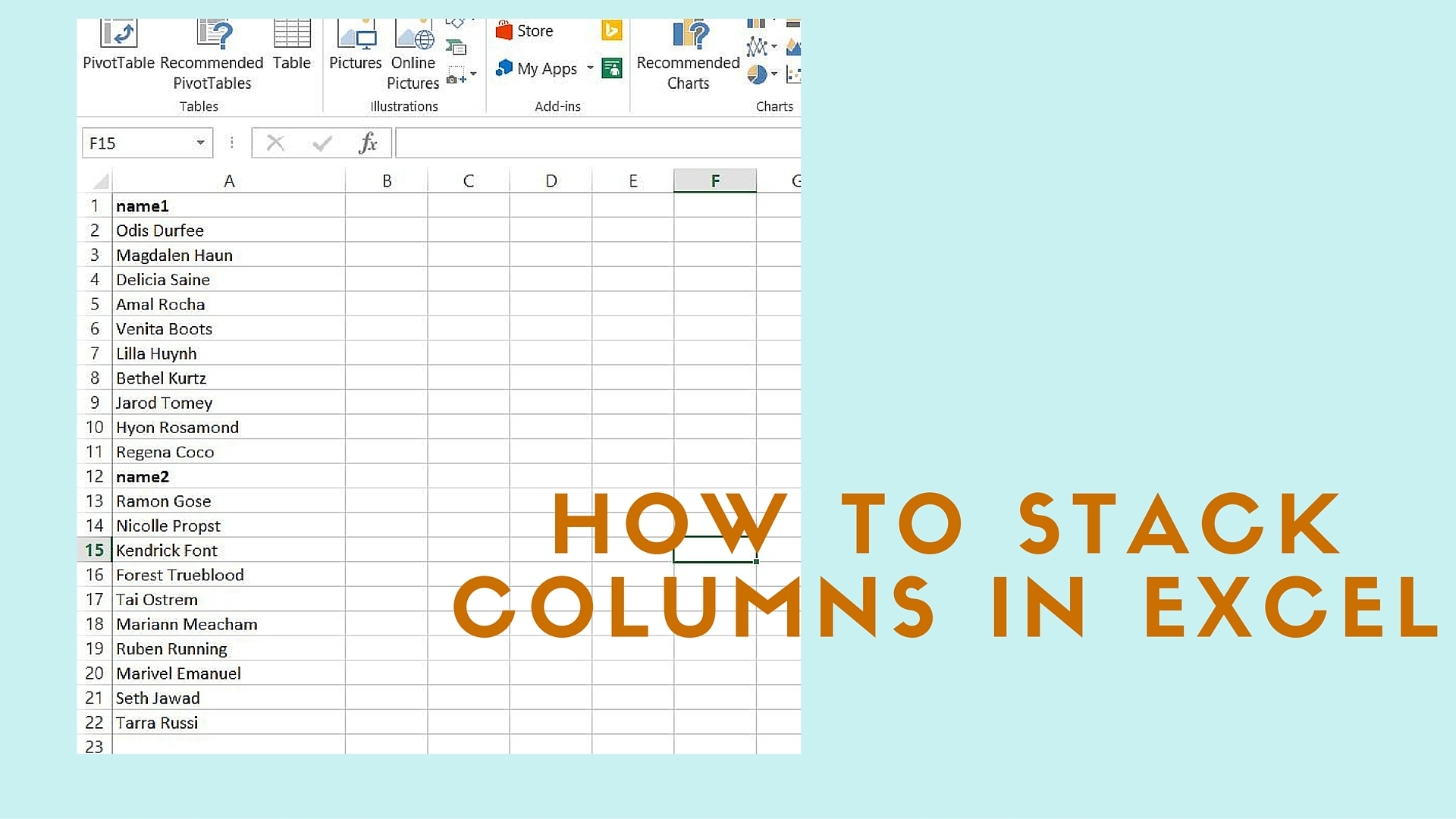 How To Stack Columns Of Data Into One Column In Excel
